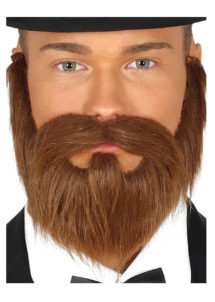 fausse barbe, fausses moustaches, postiche, barbe postiche, fausse barbe de déguisement, postiches barbes, Barbe Rousse, Lisse, avec Moustache