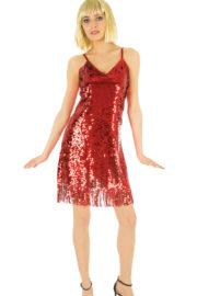 déguisement disco robe paillettes, déguisement robe paillettes rouges disco, costume paillettes femme, déguisement disco paillettes femme, robe rouge paillettes femme Déguisement Disco ou Charleston, Rouge Paillettes