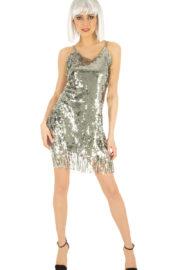 déguisement disco robe paillettes, déguisement robe paillettes argent disco, costume paillettes femme, déguisement disco paillettes femme, robe argentée paillettes femme Déguisement Disco ou Charleston, Argent à Paillettes