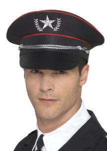 casquette militaire, casquette militaire déguisement, casquette colonel, casquette déguisement, casquette armée, casquette de militaire, Casquette Militaire Noire, avec Etoile Brodée Argent