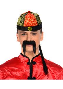 chapeau chinois, chapeau chinois de déguisement, accessoire déguisement chinois, nouvel an chinois, chapeau chinois tissu, Chapeau Chinois, Tissu Satiné et Tresse