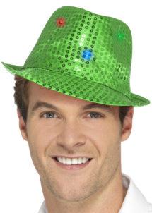 chapeau vert, chapeaux paillettes, chapeaux borsalino paillettes, chapeaux borsalino paris, chapeaux années 30 paris, chapeaux de fête, accessoires chapeaux, chapeaux lumineux, chapeaux clignotants, chapeaux led, chapeaux de fête, Chapeau Borsalino Lumineux, Paillettes Vertes