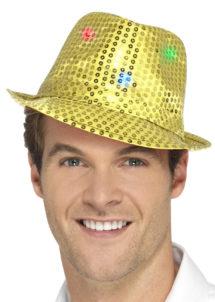 chapeau doré, chapeaux paillettes, chapeaux borsalino paillettes, chapeaux borsalino paris, chapeaux années 30 paris, chapeaux de fête, accessoires chapeaux, chapeaux lumineux, chapeaux clignotants, chapeaux led, chapeaux de fête, Chapeau Borsalino Lumineux, Paillettes Dorées