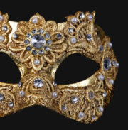 masque vénitien, loup vénitien, masque carnaval de venise, masque vénitien déguisement, accessoire déguisement carnaval de venise, déguisement carnaval de venise, masque vénitien fait main, masque macramé Vénitien, Civette Macramé, Or et Brillants