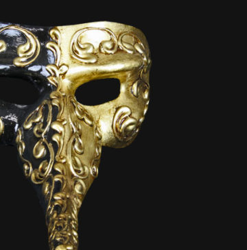 masque vénitien long nez, masque vénitien fait à la main, véritable masque vénitien, masque carnaval de venise, masque docteur peste venise Vénitien, Naso Mezzo, Noir et Or