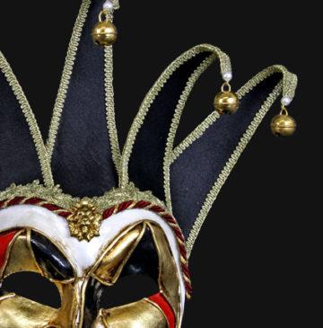 masque vénitien, loup vénitien, masque carnaval de venise, véritable masque vénitien, accessoire carnaval de venise, déguisement carnaval de venise, loup vénitien fait main, masque joker vénitien Vénitien, Joker Mezzo Velutto, Noir