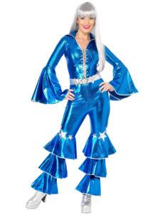 déguisement disco abba, combinaison disco abba, déguisement combinaison disco, déguisement disco brillant, Déguisement Disco, Combinaison Abba Bleu Métal
