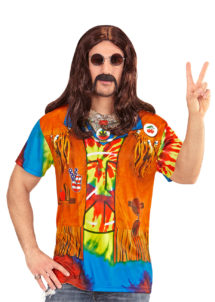 tea shirt de hippie, accessoire hippie déguisement, T-shirt 3D de hippie, T-shirt imprimé hippie, déguisement de hippie, accessoire hippie déguisement, gilet de hippie, Déguisement Hippie, T-shirt Imprimé 3D