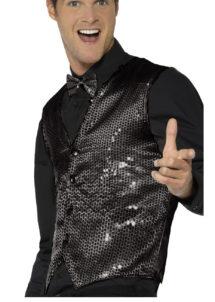 gilet noir déguisement, déguisement gilet noir paillettes, accessoire disco déguisement, gilet homme à paillettes, gilet homme déguisement, accessoire gilet pour homme, déguisement disco, Gilet à Paillettes, Sequins Noirs