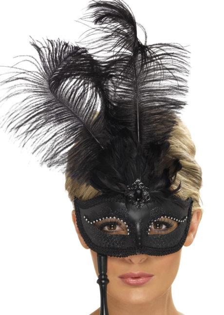 masque vénitien, masque vénitien sur bâton, loup vénitien sur bâton, face à main vénitien, loup vénitien à plumes, masque vénitien noir, Loup Baroque Fantasy sur Bâton