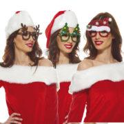lunettes de noël, lunettes sapin, lunettes de père noël, accessoires déguisement noël Lunettes de Noël, Sapin, Renne et Bonnet Scintillant