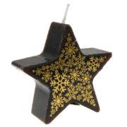bougie étoile, bougie de noël, décorations, bougie de décoration, bougie de noël, bougie étoile Bougie Etoile Noire Flocons Or