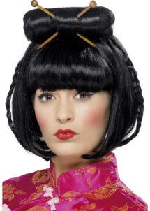 perruque chinoise, perruque japonaise, perruque asie, perruque noire, perruque de gesiha, perruque de geisha asiatique, Perruque de Geisha Asiatique, Noire