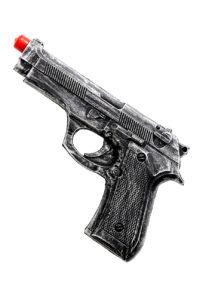 pistolet imitation vieilli, faux pistolet, faux revolver, faux pistolet en mousse compressée, faux pistolet de police déguisement, accessoire déguisement police, fausse armes, fausses armes à feu déguisement, Pistolet de Police, Imitation Métal Vieilli, Latex