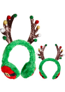 serre tête cornes de renne, chapeau de noel, chapeaux de noël, accessoires noël, serre tête oreilles de renne, Cornes de Renne sur Protège Oreilles