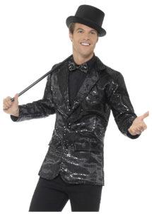 veste à paillettes, veste disco, veste disco à paillettes, déguisement disco à paillettes, veste paillettes noires, Veste à Paillettes Noires