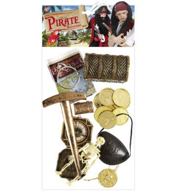 kit pirate accessoires, accessoires déguisement pirate, cache oeil de pirate, pièces d'or de pirate, carte de pirate accessoires, déguisements pirates, trésor de pirate accessoires déguisement Kit d'Accessoires de Pirate, avec Cache Oeil