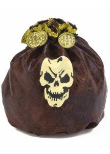 bourse de pirate, pièces de pirates, fausses pièces d'or, accessoire déguisement pirate, accessoire pirates, fausse bourse de pirate déguisement, Bourse de Pirate, Faux Cuir Vieilli