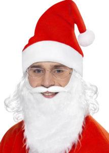 bonnet de noel, barbe de noel, bonnet de père noel, barbe père noel, Bonnet de Père Noël avec Cheveux, + Barbe et Lunettes