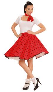 déguisement années 50, jupe années 50 déguisement, costume années 50 femme, costume années 60 femme, déguisement années 60 femme, jupe à pois déguisement femme, déguisement rock femme, déguisement sixties femme Déguisement Années 50, Jupe à Pois et Foulard, Rouge