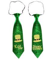 cravate saint patrick, accessoire saint patrick déguisement, déguisement saint patrick, accessoire saint patrick déguisement, accessoires déguisements saint patrick, déguisement irlandais, cravate trèfles Cravate Saint Patrick, Kiss Me et Happy St Pat's
