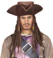 chapeau de pirate avec cheveux, chapeau pirate des Caraïbes, chapeau dreadlocks pirate, accessoire pirate des Caraïbes déguisement Chapeau de Pirate, avec Cheveux Dread et Perles