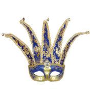 loup vénitien, masque vénitien homme, masque vénitien pas cher, carnaval de venise accessoire, masque carnaval de venise, loup vénitien grand nez, masque homme vénitien, accessoire homme carnaval de venise Loup Joker Vénitien, Bleu et Or