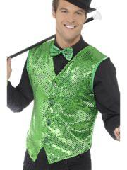 gilet vert déguisement, déguisement gilet paillettes, accessoire disco déguisement, gilet homme à paillettes, gilet homme déguisement, accessoire gilet pour homme, déguisement disco Gilet à Paillettes, Sequins Verts
