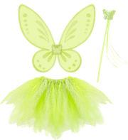 déguisement fée verte pour enfant, ailes de fée verte pour fille, kit de déguisement fée clochette, ailes de fée clochette pour enfant, ailes de fée pour enfant Déguisement de Fée, Jupe + Ailes + Baguette, Fille
