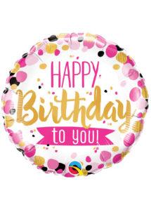 ballon hélium, ballon anniversaire, ballon aluminium, ballon happy birthday, Ballon Anniversaire, Rose et Or, à Pois, en Aluminium