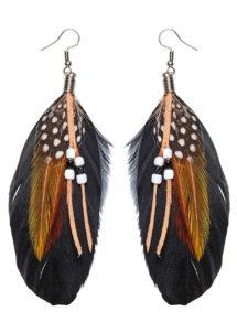 boucles d'oreilles à plumes, accessoire indienne, bijoux steampunk, accessoires bijoux d'indienne, boucles d'oreilles avec plumes, bijoux de déguisement, Boucles d'Oreilles, Plumes et Perles