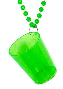 collier verre à shot saint Patrick, accessoire saint patrick, collier avec verre à shot, accessoire humour saint patrick, accessoire déguisement saint patrick, Collier Verre à Shot, Vert Fluo