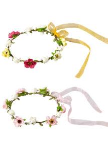 couronnes de fleurs, couronnes de fée fleurs, bandeaux de fleurs, couronnes de fleurs en tissu, accessoire couronne de fleurs, Bandeau Couronne de Fleurs avec Rubans, 2 Modèles