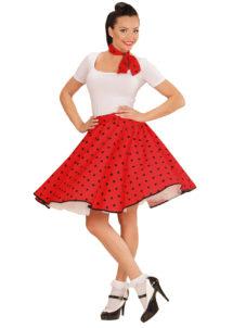 déguisement années 50, jupe années 50 déguisement, costume années 50 femme, costume années 60 femme, déguisement années 60 femme, jupe à pois déguisement femme, déguisement rock femme, déguisement sixties femme, Déguisement Années 50, Jupe à Pois et Foulard, Rouge