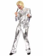déguisement disco homme, déguisement claude François, veste disco paillettes, pantalon disco paillettes, pantalon disco pattes d'éléphant, costume disco argent Déguisement Disco, Argent Métal, Pantalon et Veste