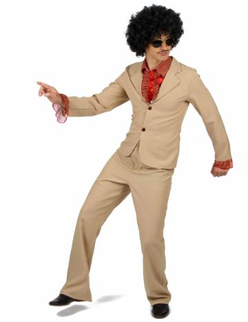 déguisement disco homme, costume disco homme, déguisement années 70 homme, costume disco pour homme Déguisement Disco, Beige, avec Froufrous Rouges