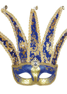 masque vénitien joker, masque joker carnaval, loup carnaval de venise, loup pour homme, Loup Joker Vénitien, Bleu et Or