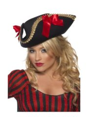 chapeau de pirate femme, pirate sexy déguisement, chapeau tricorne de pirate pour femme, chapeau de pirate femme, tricorne de pirate femme Chapeau de Pirate Fever, Noeuds Satinés Rouges