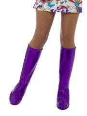 accessoire disco, surbottes disco femme, bottes années 70 femme, déguisement disco femme, bottes disco déguisement femme Surbottes Disco, Violet Métal