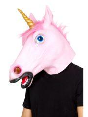masque de licorne rose, masque licorne en latex, masque d'animaux en latex, accessoire licorne déguisement, masque corne de licorne Masque de Licorne Rose et Corne Dorée, en Latex