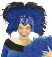 coiffe brésilienne, accessoire carnaval de rio, coiffe de carnaval, coiffure brésilienne, accessoire déguisement, déguisement brésilienne, coiffe brésilienne à plumes Coiffe Brésilienne, Crazy, Plumes Bleues