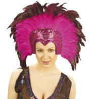 coiffe brésilienne, accessoire carnaval de rio, coiffe de carnaval, coiffure brésilienne, accessoire déguisement, déguisement brésilienne, coiffe brésilienne à plumes Coiffe Brésilienne, Crazy, Plumes Rose Fuchsia
