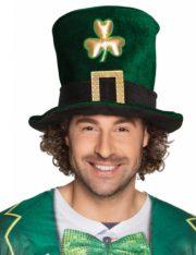 chapeau saint patrick, chapeau vert saint patrick, accessoire saint patrick, chapeau irlandais saint patrick, chapeau irlande saint patrick Chapeau Saint Patrick, Velours Vert et Trèfle Doré