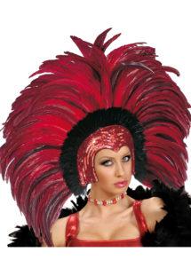 coiffe brésilienne, accessoire carnaval de rio, coiffe de carnaval, coiffure brésilienne, accessoire déguisement, déguisement brésilienne, coiffe brésilienne à plumes, Coiffe Brésilienne, Copacabana, Plumes Rouges