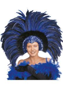coiffe brésilienne, accessoire carnaval de rio, coiffe de carnaval, coiffure brésilienne, accessoire déguisement, déguisement brésilienne, coiffe brésilienne à plumes, Coiffe Brésilienne, Copacabana, Plumes Bleues