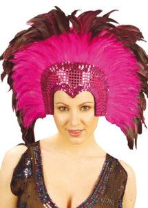 coiffe brésilienne, accessoire carnaval de rio, coiffe de carnaval, coiffure brésilienne, accessoire déguisement, déguisement brésilienne, coiffe brésilienne à plumes, Coiffe Brésilienne, Crazy, Plumes Rose Fuchsia