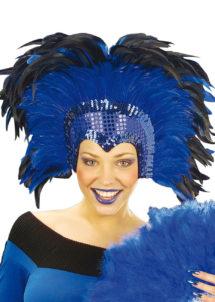 coiffe brésilienne, accessoire carnaval de rio, coiffe de carnaval, coiffure brésilienne, accessoire déguisement, déguisement brésilienne, coiffe brésilienne à plumes, Coiffe Brésilienne, Crazy, Plumes Bleues
