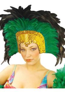 coiffe brésilienne, accessoire carnaval de rio, coiffe de carnaval, coiffure brésilienne, accessoire déguisement, déguisement brésilienne, coiffe brésilienne à plumes, Coiffe Brésilienne, Crazy, Plumes Vertes