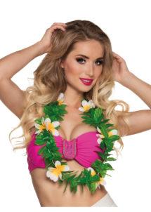 collier hawaïen, collier hawaï, collier de fleurs hawaïen, collier de fleurs hawaï, collier de fleurs hawaïen pas cher, Collier de Fleurs Hawaïen Blanc, avec Feuilles Vertes