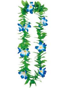 collier hawaïen, collier hawaï, collier de fleurs hawaïen, collier de fleurs hawaï, collier de fleurs hawaïen pas cher, Collier de Fleurs Hawaïen Bleu, avec Feuilles Vertes